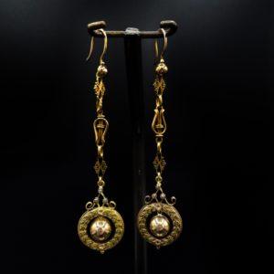 Pendants d'oreilles en or 18K, Napoléon III
