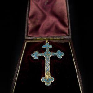Croix reliquaire en or 18K Napoléon III