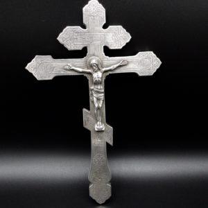 Croix reliquaire russe en argent massif, 1877