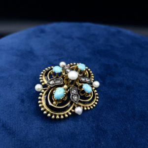 Broche napoléon III, en or 18K, diamants, turquoises, perles et émail