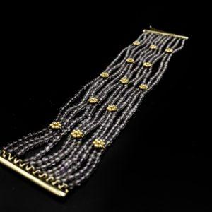 Bracelet large en or 18K et perles d'améthystes