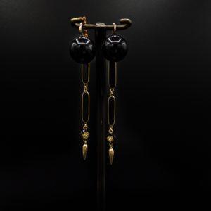 Paire de pendants d'oreilles Napoléon III, or 18K et onyx