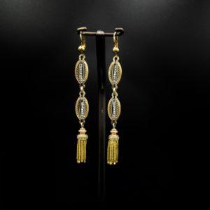 Paire de pendants d'oreilles Napoléon III en or 18K
