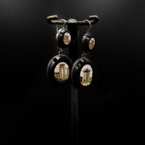 Paire de pendants d'oreilles micro-mosaïque italienne, fin 19ème siècle
