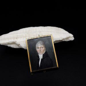 """Miniature """"gentilhomme"""" sur ivoire, époque Empire"""