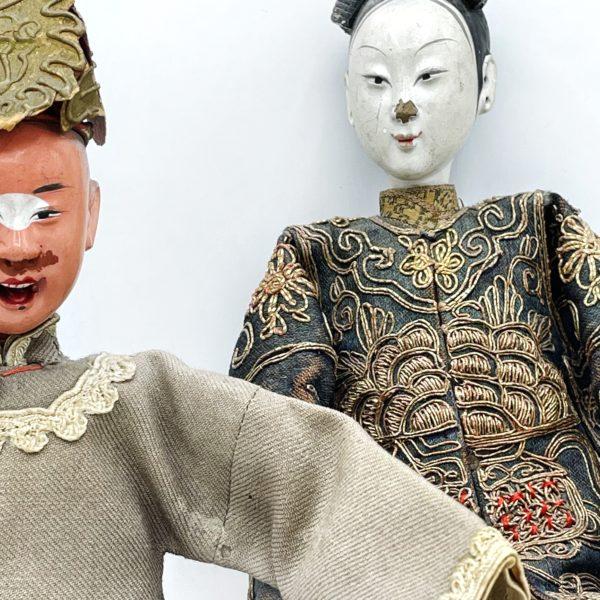 Couple de poupées chinoises, fin 19ème siècle