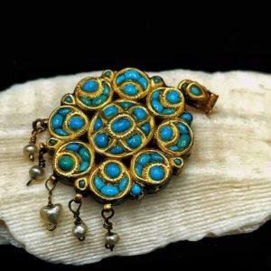 """Bijoux pendentif indien Moghol en or"""